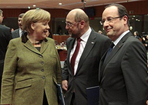 Angela Merkel, Martin Schulz, Francois Hollande,